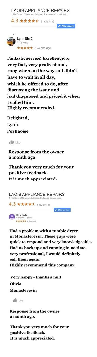 Appliance Repairs Newbridge, from €60 -Call Dermot 086 8425709  by Laois Appliance Repairs, Ireland
